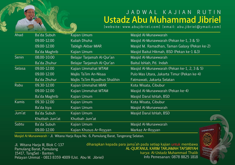 Jadwal Kajian Rutin Ustadz Abu Muhammad Jibriel